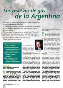 de la Argentina Las reservas de gas Peter Gaffney