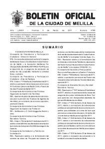 DE LA CIUDAD DE MELILLA