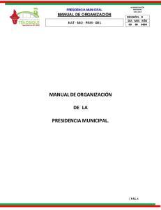 DE LA PRESIDENCIA MUNICIPAL
