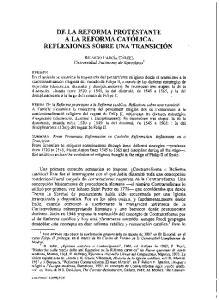 DE LA REFORMA PROTESTANTE A LA REFORMA CAT~LICA. REFLEXIONES SOBRE UNA TRANSICI~N