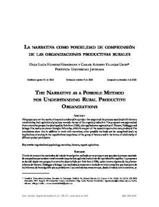DE LAS ORGANIZACIONES PRODUCTIVAS RURALES. Recibido: agosto 31 de 2006 Revisado: octubre 9 de 2006 Aceptado: noviembre 2 de 2006