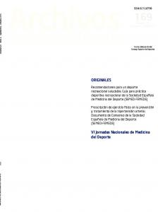 de medicina del deporte Órgano de expresión de la Federación Española de Medicina del Deporte
