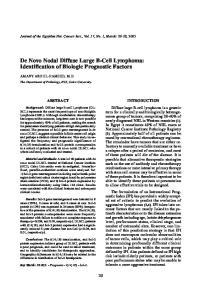 De Novo Nodal Diffuse Large B-Cell Lymphoma: Identification of Biologic Prognostic Factors