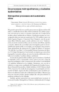 De procesos metropolitanos y ciudades sustentables
