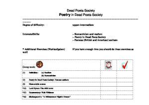 Dead Poets Society Poetry in Dead Poets Society