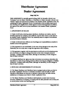 Dealer Agreement