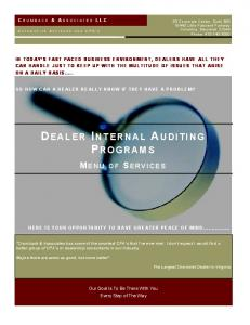 DEALER INTERNAL AUDITING PROGRAMS
