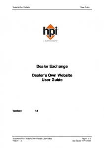 Dealer s Own Website User Guide. Dealer Exchange. Version: 1.0