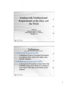 Dealing with Nonfunctional Requirements as the Hero, not the Witch. Definitions