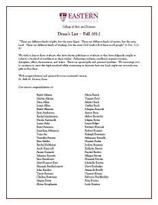 Dean s List Fall 2012