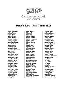 Dean s List Fall Term 2014