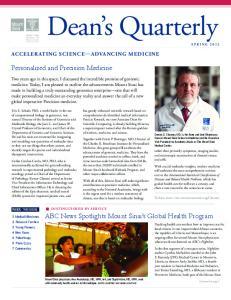 Dean s Quarterly. Personalized and Precision Medicine. ABC News Spotlights Mount Sinai s Global Health Program ACCELERATING SCIENCE ADVANCING MEDICINE