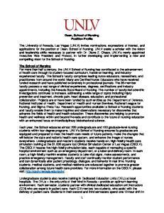 Dean, School of Nursing Position Profile