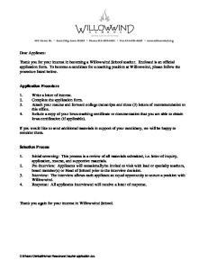 Dear Applicant: Application Procedure