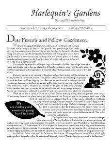 Dear Friends and Fellow Gardeners,