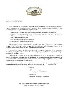 Dear Home Ownership Applicant: