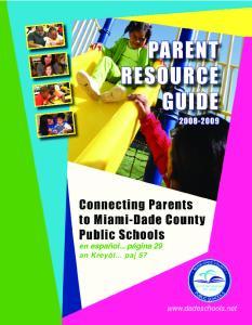 Dear Parents and Guardians: PARENT RESOURCE GUIDE