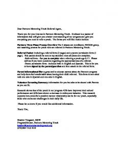 Dear Partners Mentoring Youth Referral Agent,