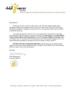 Dear Sponsor, Sincerely, Carla Montgomery Executive Director
