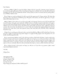 Dear Teachers, Sincerely, Ooligan Press