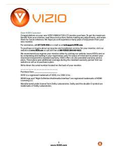 Dear VIZIO Customer: