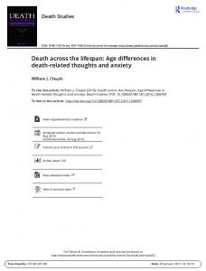Death across the lifespan: Age differences in death-related thoughts and anxiety