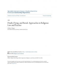 Death, Dying, and Burial: Approaches in Religious Law and Practice