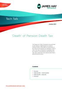 Death of Pension Death Tax