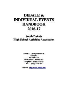 DEBATE & INDIVIDUAL EVENTS HANDBOOK