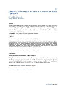 Debates y controversias en torno a la vivienda en Bilbao ( )