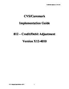 Debit Adjustment. Version X