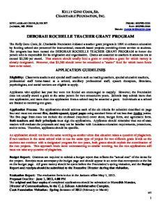 DEBORAH ROCHELLE TEACHER GRANT PROGRAM