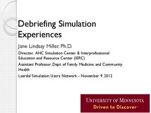 Debriefing Simulation Experiences