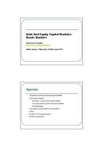 Debt And Equity Capital Markets: Bonds Markets