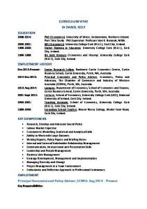 Dec 2015 Present: Senior Research Fellow, Bankwest Curtin Economics Centre, Curtin. Curtin Business School, Curtin University, Perth, WA, Australia