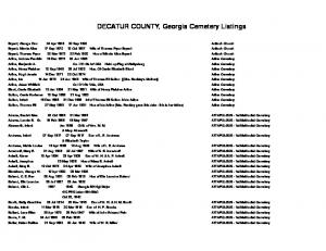 DECATUR COUNTY, Georgia Cemetery Listings