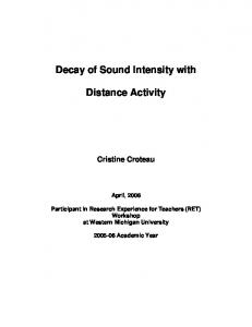 Decay of Sound Intensity with. Distance Activity