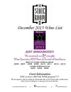 December 2013 Wine List