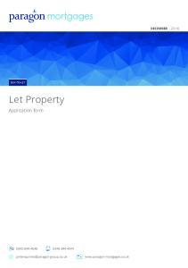 DECEMBER 2016 BUY-TO-LET. Let Property. Application form