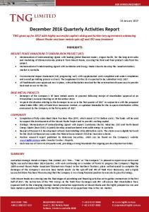 December 2016 Quarterly Activities Report