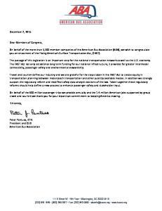 December 7, Dear Members of Congress,