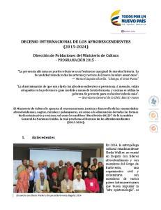 DECENIO INTERNACIONAL DE LOS AFRODESCENDIENTES ( )