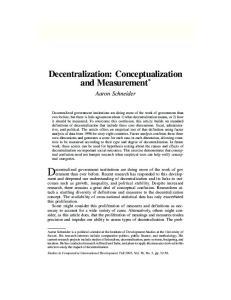 Decentralization: Conceptualization and Measurement *