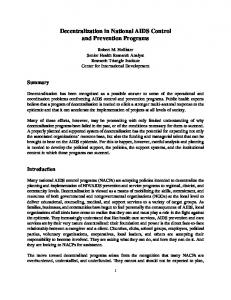 Decentralization in National AIDS Control and Prevention Programs