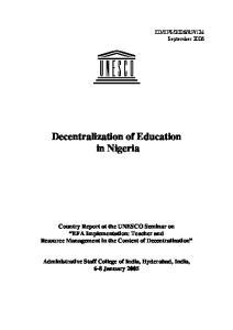 Decentralization of Education in Nigeria