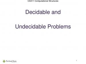 Decidable and. Undecidable Problems