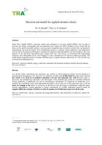 Decision aid model for asphalt mixture choice