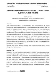 DECISION MAKING IN THE GREEN HOME CONSTRUCTION BUSINESS: VALUE DRIVERS