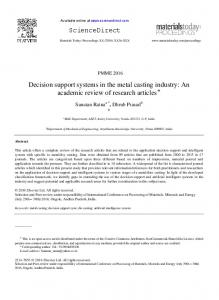 Decision support systems in the metal casting industry: An academic review of research articles