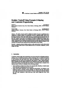 Decision Tradeoff Using Example-Critiquing and Constraint Programming